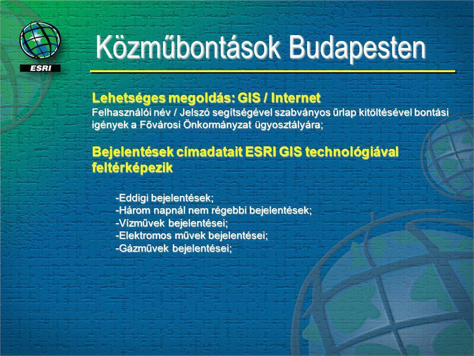 Közműbontások Budapesten Lehetséges megoldás: GIS / Internet Felhasználói név / Jelszó segítségével szabványos űrlap kitöltésével bontási igények a Fővárosi Önkormányzat ügyosztályára; Bejelentések címadatait ESRI GIS technológiával feltérképezik -Eddigi bejelentések; -Három napnál nem régebbi bejelentések; -Vízművek bejelentései; -Elektromos művek bejelentései; -Gázművek bejelentései; adat