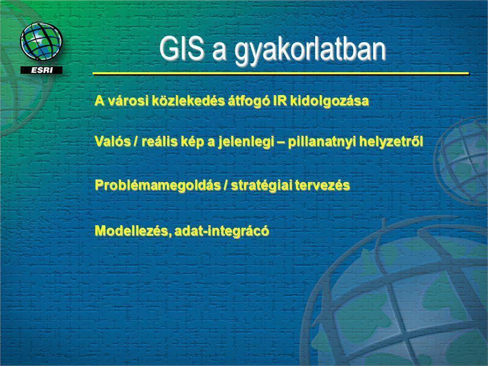 GIS a gyakorlatban GIS a gyakorlatban A városi közlekedés átfogó IR kidolgozása Valós / reális kép a jelenlegi – pillanatnyi helyzetről Problémamegoldás / stratégiai tervezés Modellezés, adat-integrácó