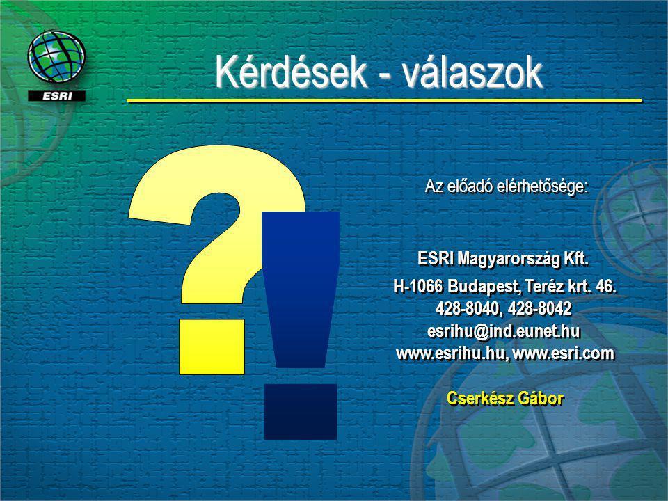 Kérdések - válaszok Az előadó elérhetősége: ESRI Magyarország Kft. H-1066 Budapest, Teréz krt. 46. 428-8040, 428-8042 esrihu@ind.eunet.hu www.esrihu.h
