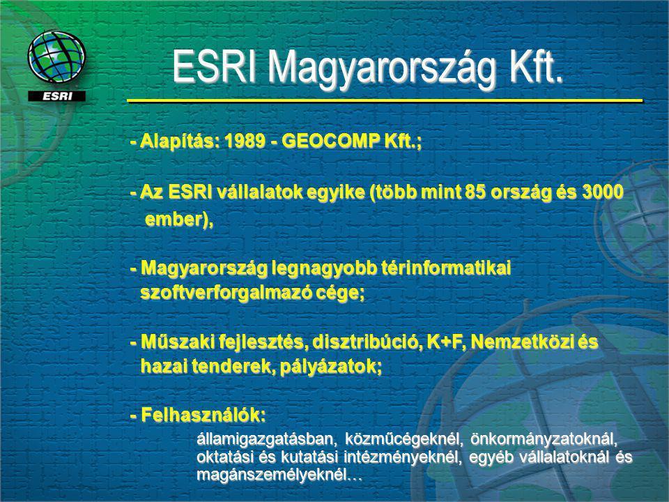 ESRI Magyarország Kft. - Alapítás: 1989 - GEOCOMP Kft.; - Az ESRI vállalatok egyike (több mint 85 ország és 3000 ember), ember), - Magyarország legnag