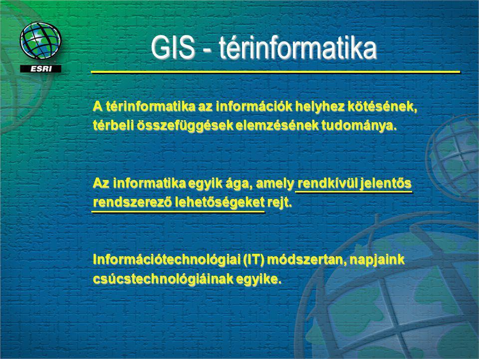 GIS - térinformatika A térinformatika az információk helyhez kötésének, térbeli összefüggések elemzésének tudománya. Az informatika egyik ága, amely r
