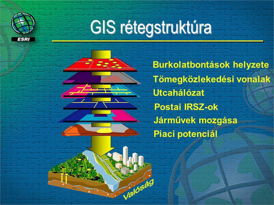 GIS rétegstruktúra Burkolatbontások helyzete Tömegközlekedési vonalak Utcahálózat Postai IRSZ-ok Piaci potenciál Járművek mozgása