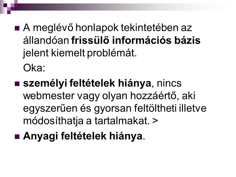  A meglévő honlapok tekintetében az állandóan frissülő információs bázis jelent kiemelt problémát.