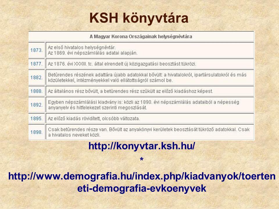 KSH könyvtára http://konyvtar.ksh.hu/ * http://www.demografia.hu/index.php/kiadvanyok/toerten eti-demografia-evkoenyvek