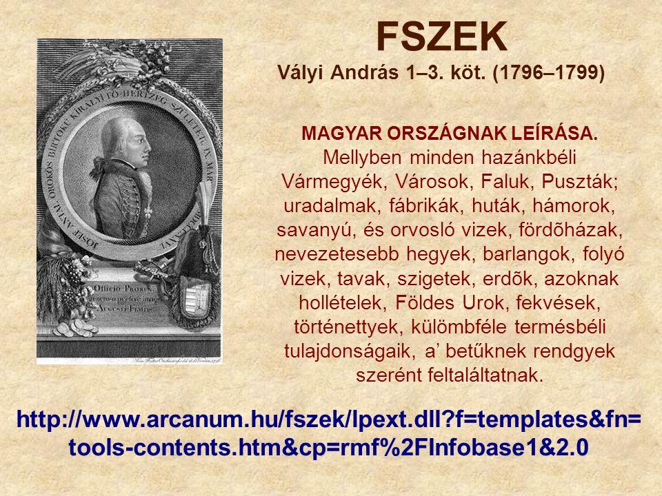 FSZEK Vályi András 1–3. köt. (1796–1799) MAGYAR ORSZÁGNAK LEÍRÁSA. Mellyben minden hazánkbéli Vármegyék, Városok, Faluk, Puszták; uradalmak, fábrikák,