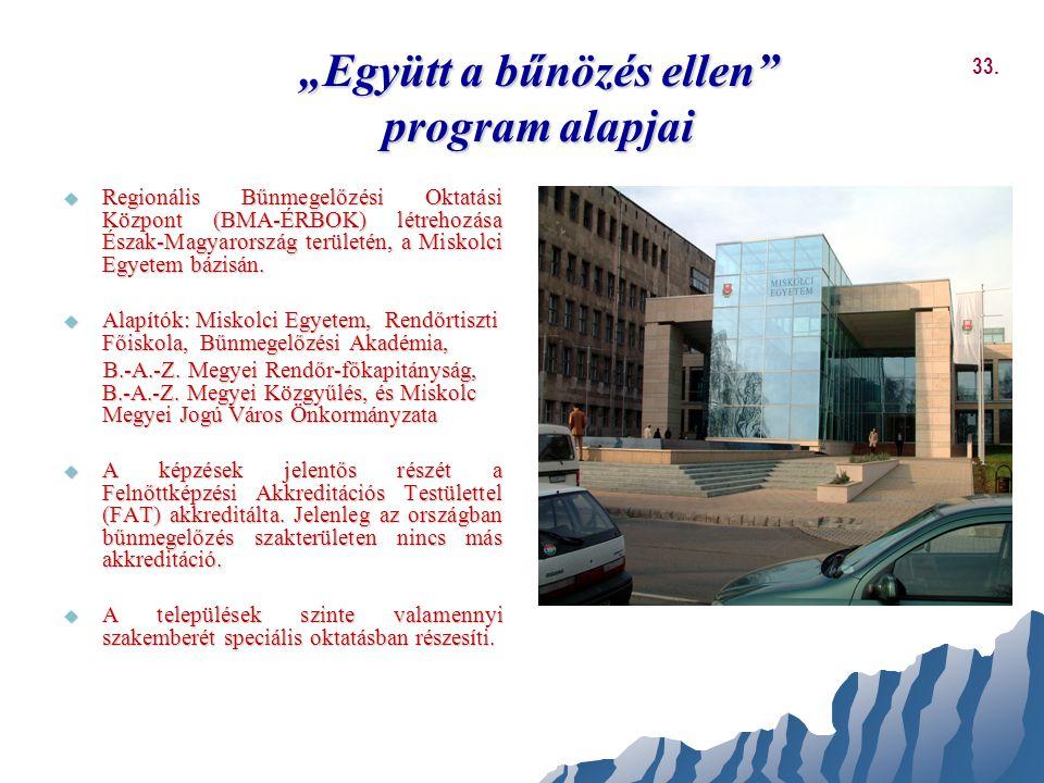 """""""Együtt a bűnözés ellen"""" program alapjai  Regionális Bűnmegelőzési Oktatási Központ (BMA-ÉRBOK) létrehozása Észak-Magyarország területén, a Miskolci"""