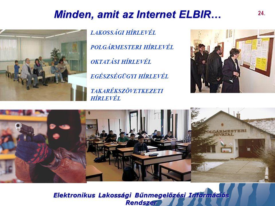 Minden, amit az Internet ELBIR… Elektronikus Lakossági Bűnmegelőzési Információs Rendszer LAKOSSÁGI HÍRLEVÉL POLGÁRMESTERI HÍRLEVÉL OKTATÁSI HÍRLEVÉL