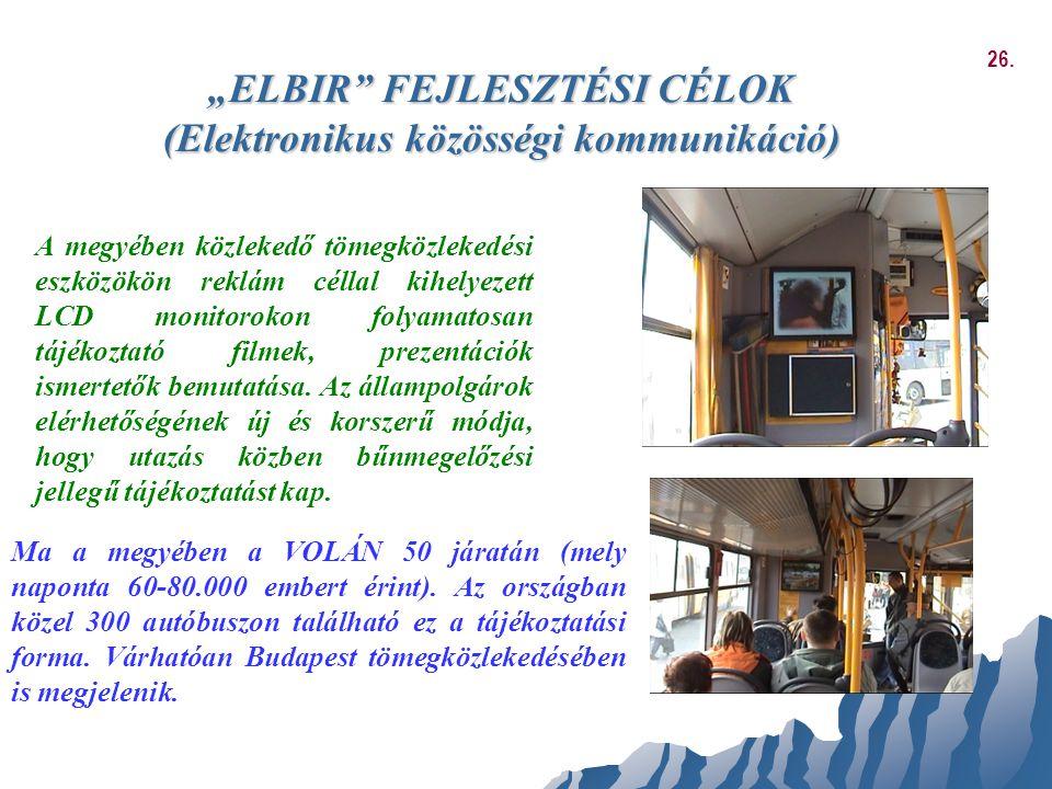"""""""ELBIR"""" FEJLESZTÉSI CÉLOK (Elektronikus közösségi kommunikáció) A megyében közlekedő tömegközlekedési eszközökön reklám céllal kihelyezett LCD monitor"""