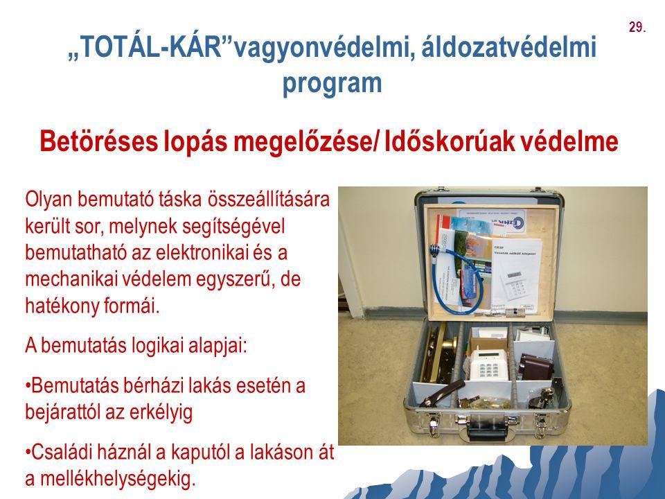 """""""TOTÁL-KÁR""""vagyonvédelmi, áldozatvédelmi program Betöréses lopás megelőzése/ Időskorúak védelme Olyan bemutató táska összeállítására került sor, melyn"""