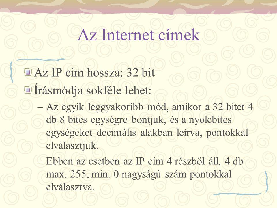 Az Internet címek Az IP cím hossza: 32 bit Írásmódja sokféle lehet: –Az egyik leggyakoribb mód, amikor a 32 bitet 4 db 8 bites egységre bontjuk, és a