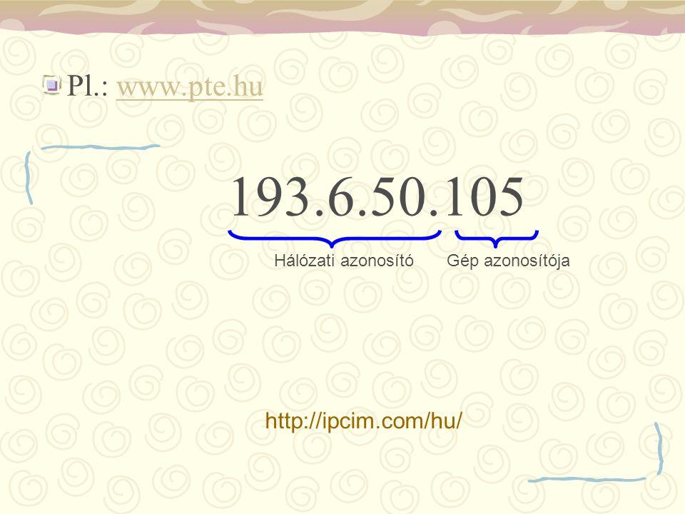 Pl.: www.pte.huwww.pte.hu 193.6.50.105 Hálózati azonosítóGép azonosítója http://ipcim.com/hu/