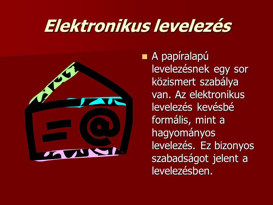 Elektronikus levelezés  A papíralapú levelezésnek egy sor közismert szabálya van. Az elektronikus levelezés kevésbé formális, mint a hagyományos leve
