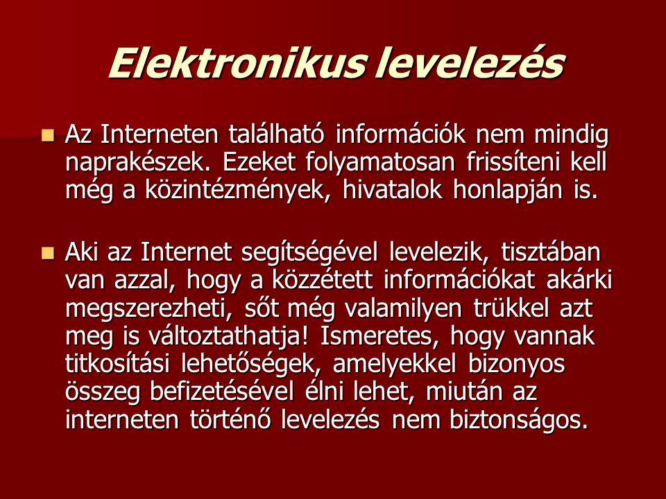 Elektronikus levelezés  Az Interneten található információk nem mindig naprakészek. Ezeket folyamatosan frissíteni kell még a közintézmények, hivatal