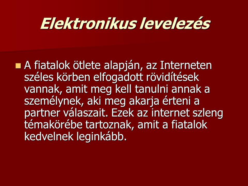 Elektronikus levelezés  A fiatalok ötlete alapján, az Interneten széles körben elfogadott rövidítések vannak, amit meg kell tanulni annak a személyne