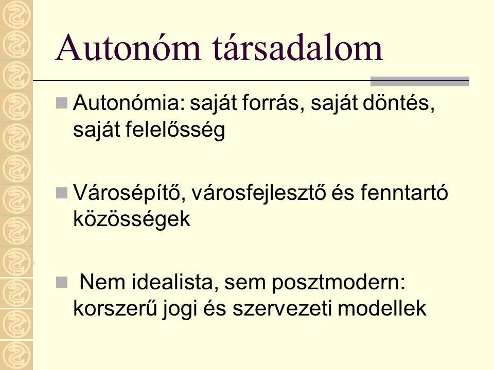 Autonóm társadalom  Autonómia: saját forrás, saját döntés, saját felelősség  Városépítő, városfejlesztő és fenntartó közösségek  Nem idealista, sem