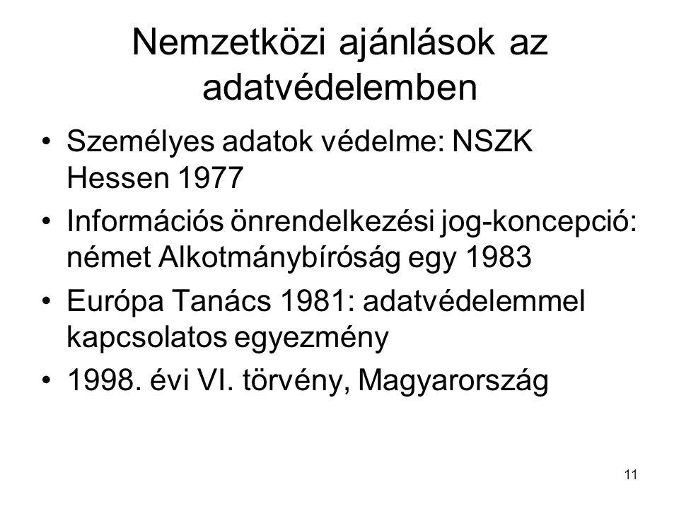 11 Nemzetközi ajánlások az adatvédelemben •Személyes adatok védelme: NSZK Hessen 1977 •Információs önrendelkezési jog-koncepció: német Alkotmánybíróság egy 1983 •Európa Tanács 1981: adatvédelemmel kapcsolatos egyezmény •1998.
