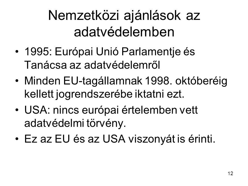 12 Nemzetközi ajánlások az adatvédelemben •1995: Európai Unió Parlamentje és Tanácsa az adatvédelemről •Minden EU-tagállamnak 1998.
