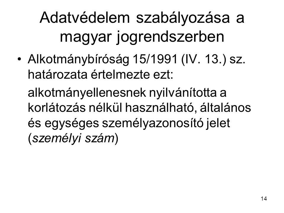 14 Adatvédelem szabályozása a magyar jogrendszerben •Alkotmánybíróság 15/1991 (IV. 13.) sz. határozata értelmezte ezt: alkotmányellenesnek nyilvánítot