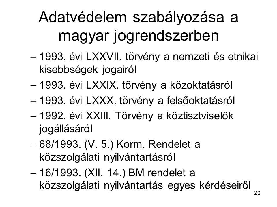 20 Adatvédelem szabályozása a magyar jogrendszerben –1993. évi LXXVII. törvény a nemzeti és etnikai kisebbségek jogairól –1993. évi LXXIX. törvény a k