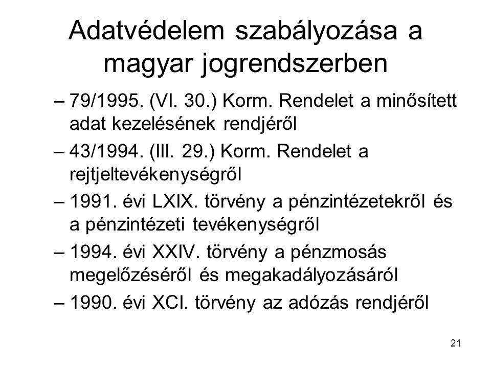 21 Adatvédelem szabályozása a magyar jogrendszerben –79/1995. (VI. 30.) Korm. Rendelet a minősített adat kezelésének rendjéről –43/1994. (III. 29.) Ko