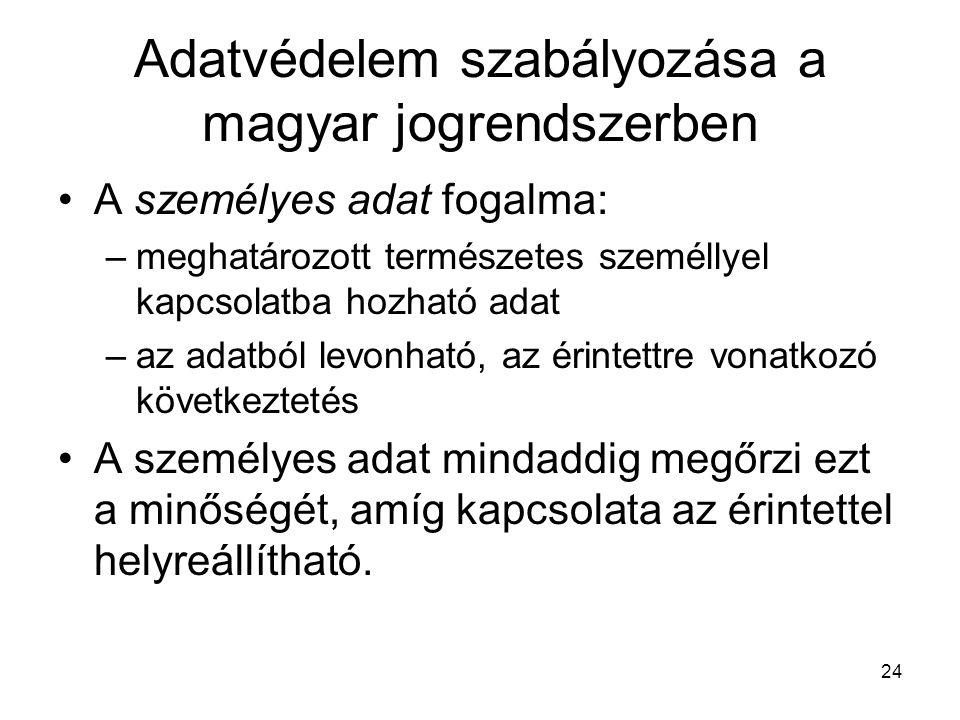 24 Adatvédelem szabályozása a magyar jogrendszerben •A személyes adat fogalma: –meghatározott természetes személlyel kapcsolatba hozható adat –az adat