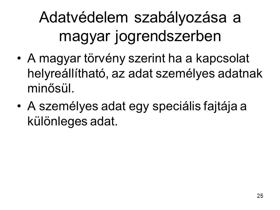 25 Adatvédelem szabályozása a magyar jogrendszerben •A magyar törvény szerint ha a kapcsolat helyreállítható, az adat személyes adatnak minősül. •A sz