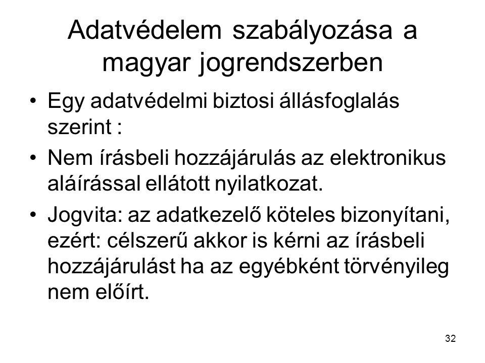 32 Adatvédelem szabályozása a magyar jogrendszerben •Egy adatvédelmi biztosi állásfoglalás szerint : •Nem írásbeli hozzájárulás az elektronikus aláírással ellátott nyilatkozat.