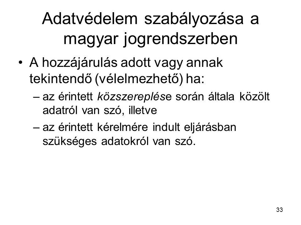 33 Adatvédelem szabályozása a magyar jogrendszerben •A hozzájárulás adott vagy annak tekintendő (vélelmezhető) ha: –az érintett közszereplése során általa közölt adatról van szó, illetve –az érintett kérelmére indult eljárásban szükséges adatokról van szó.