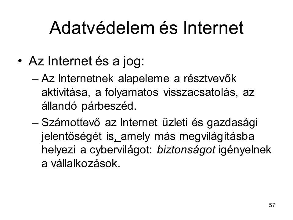 57 Adatvédelem és Internet •Az Internet és a jog: –Az Internetnek alapeleme a résztvevők aktivitása, a folyamatos visszacsatolás, az állandó párbeszéd