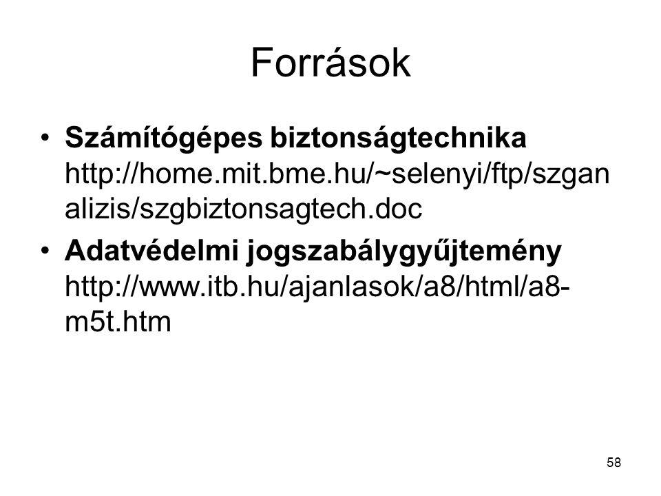 58 Források •Számítógépes biztonságtechnika http://home.mit.bme.hu/~selenyi/ftp/szgan alizis/szgbiztonsagtech.doc •Adatvédelmi jogszabálygyűjtemény http://www.itb.hu/ajanlasok/a8/html/a8- m5t.htm
