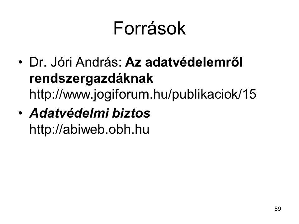 59 Források •Dr. Jóri András: Az adatvédelemről rendszergazdáknak http://www.jogiforum.hu/publikaciok/15 •Adatvédelmi biztos http://abiweb.obh.hu