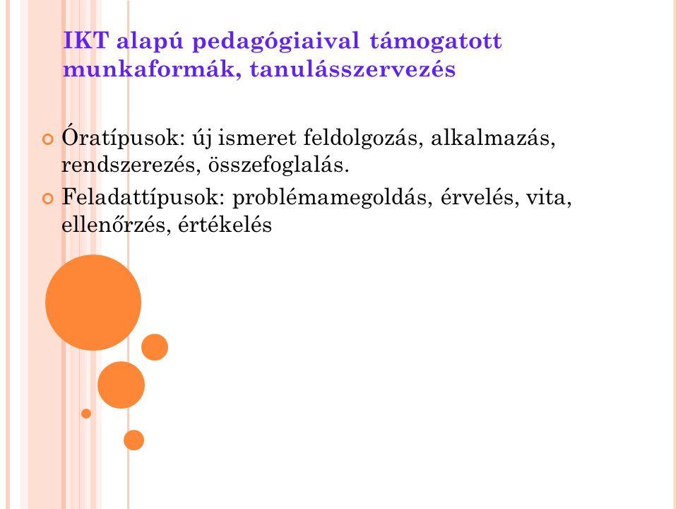 IKT alapú pedagógiaival támogatott munkaformák, tanulásszervezés Óratípusok: új ismeret feldolgozás, alkalmazás, rendszerezés, összefoglalás. Feladatt