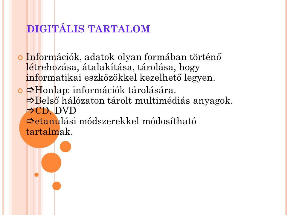 DIGITÁLIS TARTALOM Információk, adatok olyan formában történő létrehozása, átalakítása, tárolása, hogy informatikai eszközökkel kezelhető legyen.  Ho