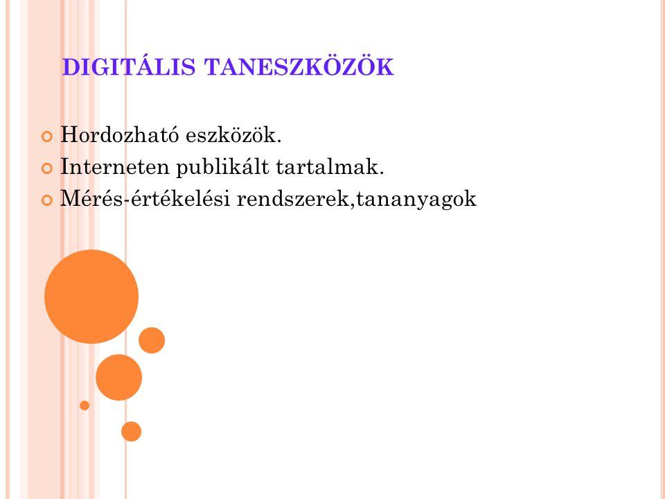 DIGITÁLIS TANESZKÖZÖK Hordozható eszközök. Interneten publikált tartalmak. Mérés-értékelési rendszerek,tananyagok