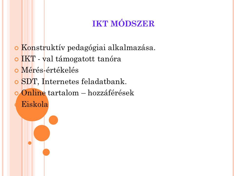 IKT MÓDSZER Konstruktív pedagógiai alkalmazása. IKT - val támogatott tanóra Mérés-értékelés SDT, Internetes feladatbank. Online tartalom – hozzáférése
