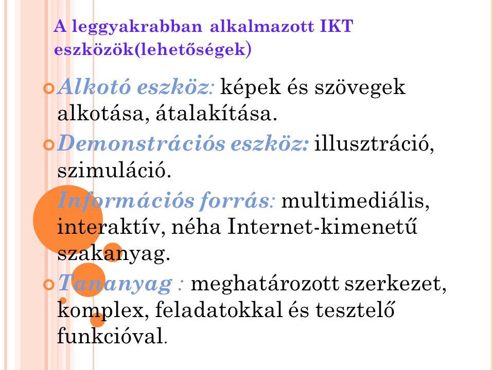 A leggyakrabban alkalmazott IKT eszközök(lehetőségek ) Alkotó eszköz : képek és szövegek alkotása, átalakítása. Demonstrációs eszköz: illusztráció, sz
