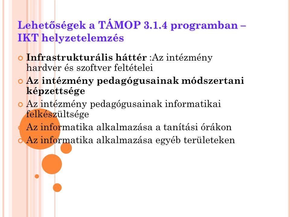 Lehetőségek a TÁMOP 3.1.4 programban – IKT helyzetelemzés Infrastrukturális háttér :Az intézmény hardver és szoftver feltételei Az intézmény pedagógus