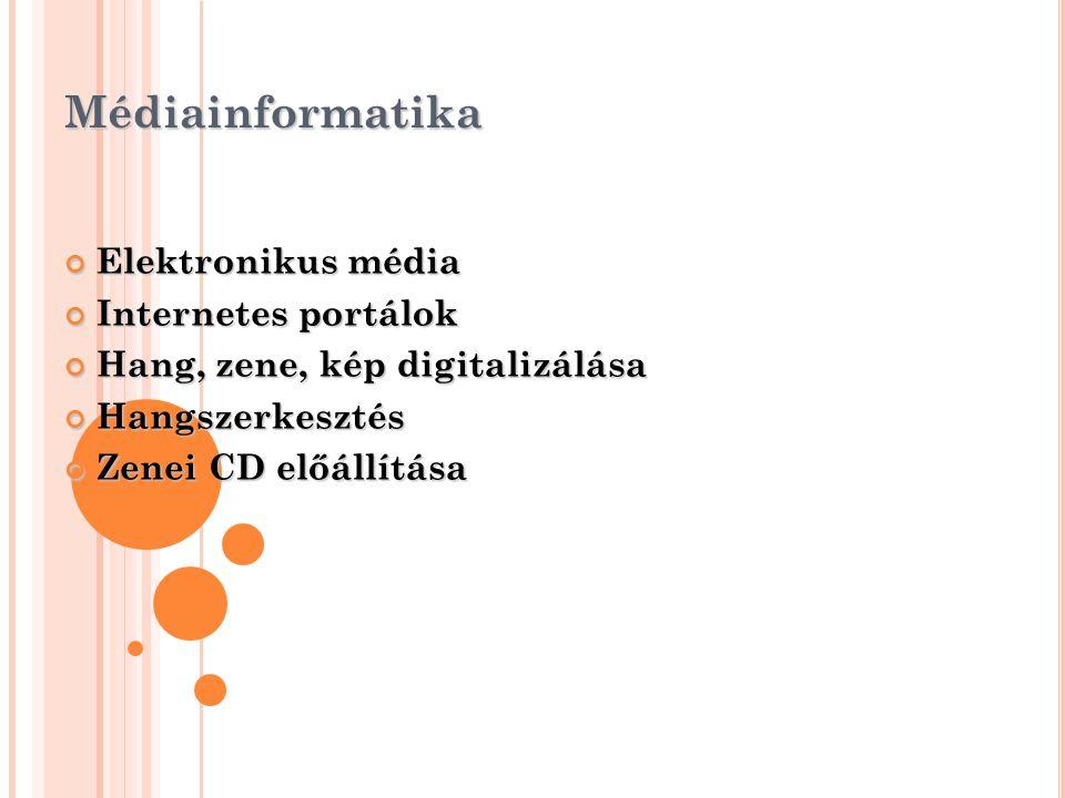 Médiainformatika Elektronikus média Internetes portálok Hang, zene, kép digitalizálása Hangszerkesztés Zenei CD előállítása