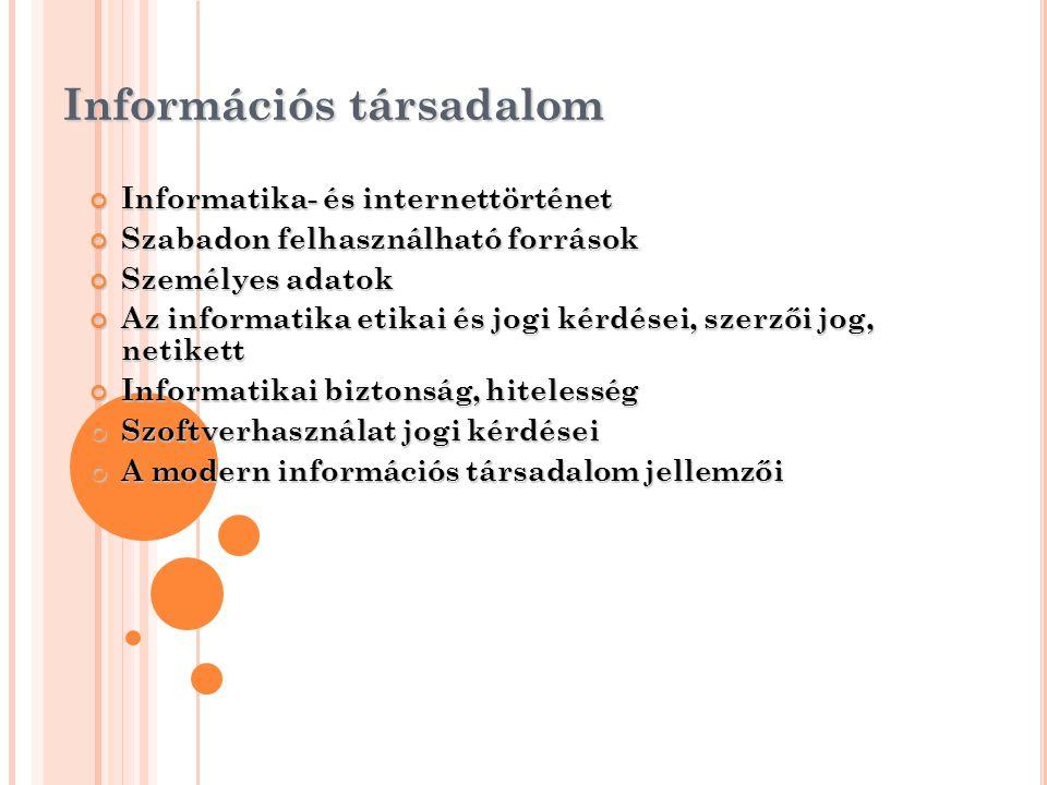 Információs társadalom Informatika- és internettörténet Szabadon felhasználható források Személyes adatok Az informatika etikai és jogi kérdései, szer