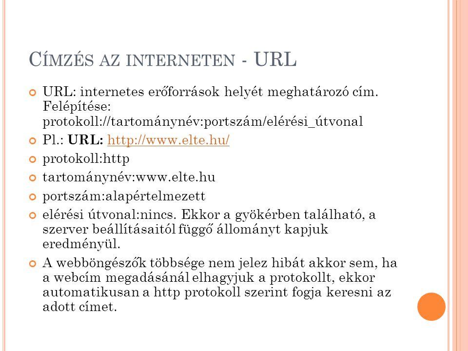 C ÍMZÉS AZ INTERNETEN - URL URL: internetes erőforrások helyét meghatározó cím.