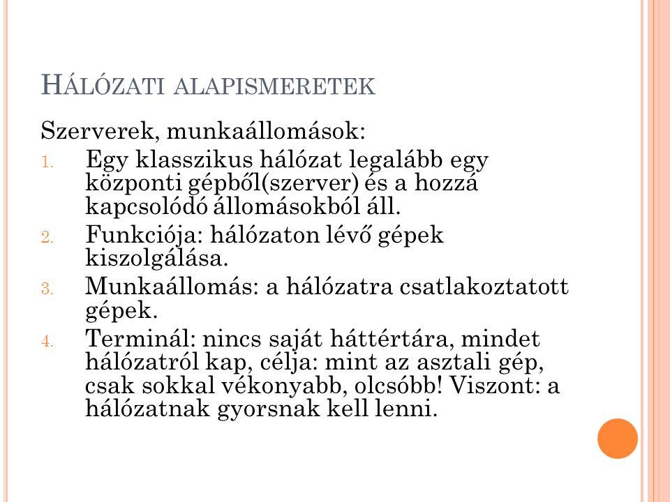 H ÁLÓZATI ALAPISMERETEK Szerverek, munkaállomások: 1.