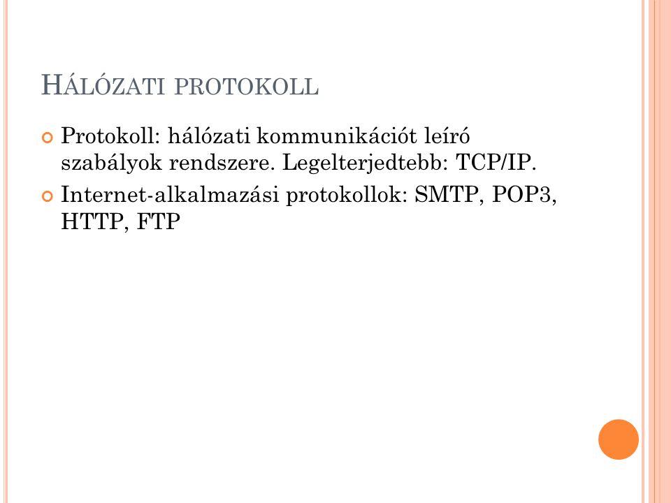 H ÁLÓZATI PROTOKOLL Protokoll: hálózati kommunikációt leíró szabályok rendszere.