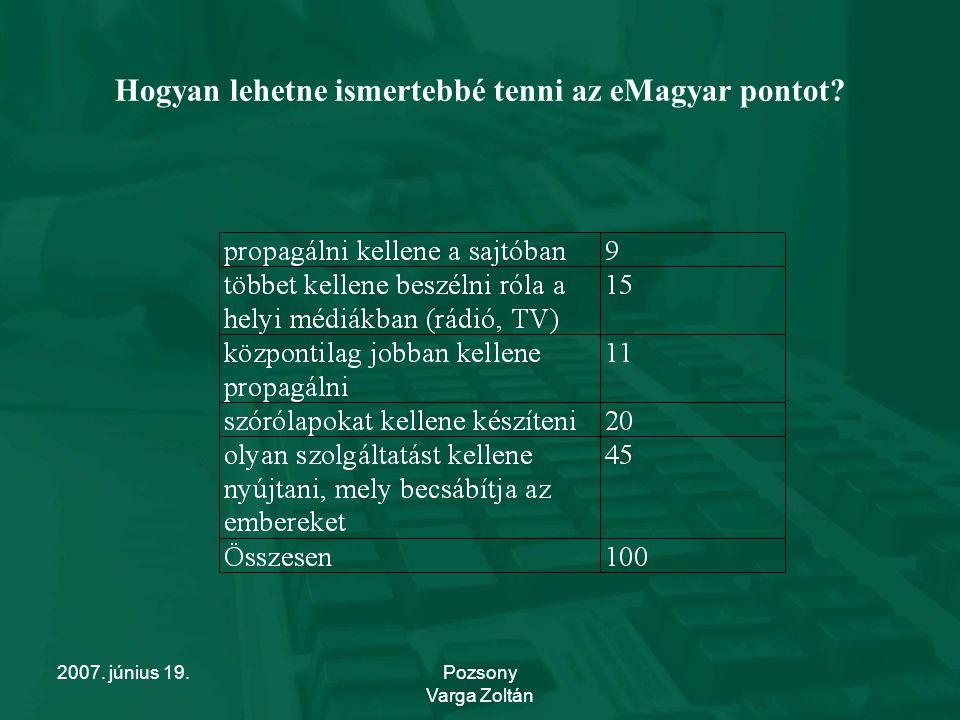 2007. június 19.Pozsony Varga Zoltán Hogyan lehetne ismertebbé tenni az eMagyar pontot?