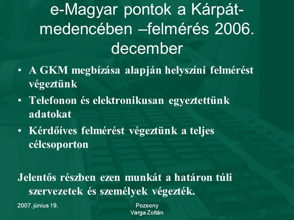 2007. június 19.Pozsony Varga Zoltán e-Magyar pontok a Kárpát- medencében –felmérés 2006.