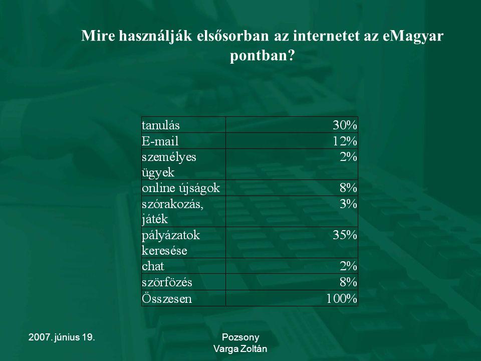 2007. június 19.Pozsony Varga Zoltán Mire használják elsősorban az internetet az eMagyar pontban?