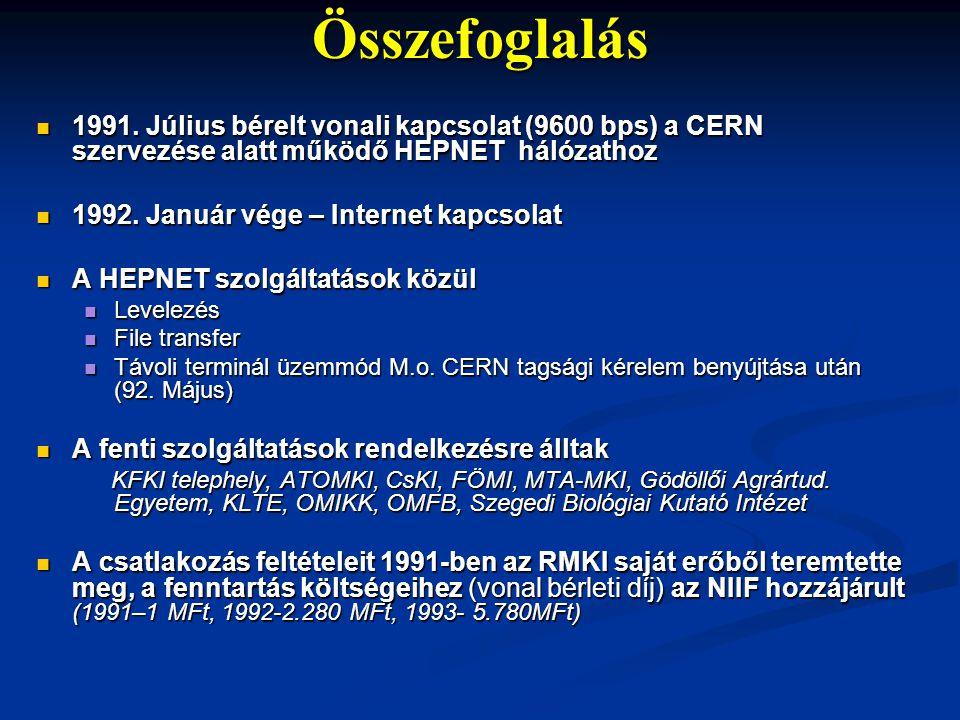 Összefoglalás  1991. Július bérelt vonali kapcsolat (9600 bps) a CERN szervezése alatt működő HEPNET hálózathoz  1992. Január vége – Internet kapcso