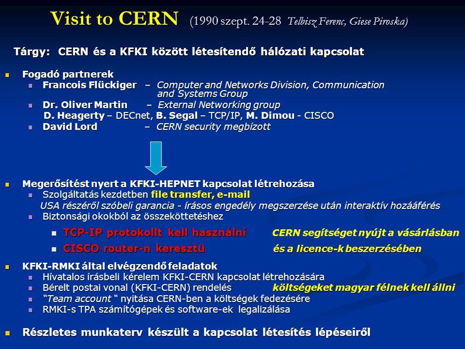 Visit to CERN (1990 szept. 24-28 Telbisz Ferenc, Giese Piroska)  Fogadó partnerek  Francois Flückiger – Computer and Networks Division, Communicatio
