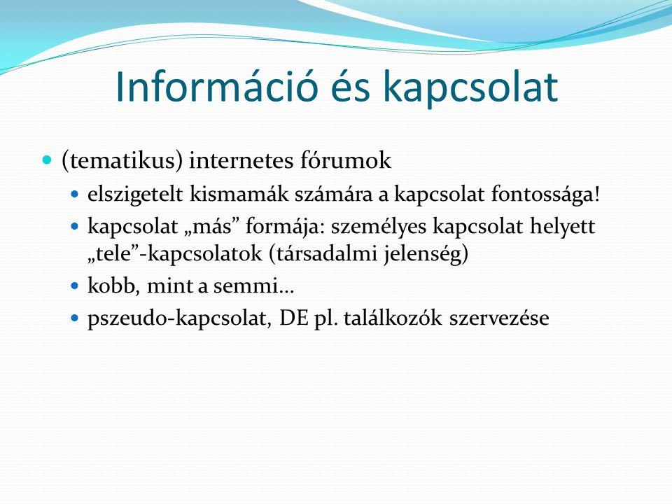 Információ és kapcsolat  (tematikus) internetes fórumok  elszigetelt kismamák számára a kapcsolat fontossága.