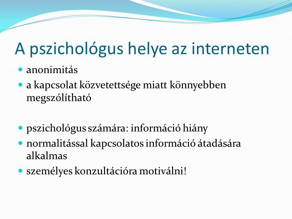A pszichológus helye az interneten  anonimitás  a kapcsolat közvetettsége miatt könnyebben megszólítható  pszichológus számára: információ hiány  normalitással kapcsolatos információ átadására alkalmas  személyes konzultációra motiválni!