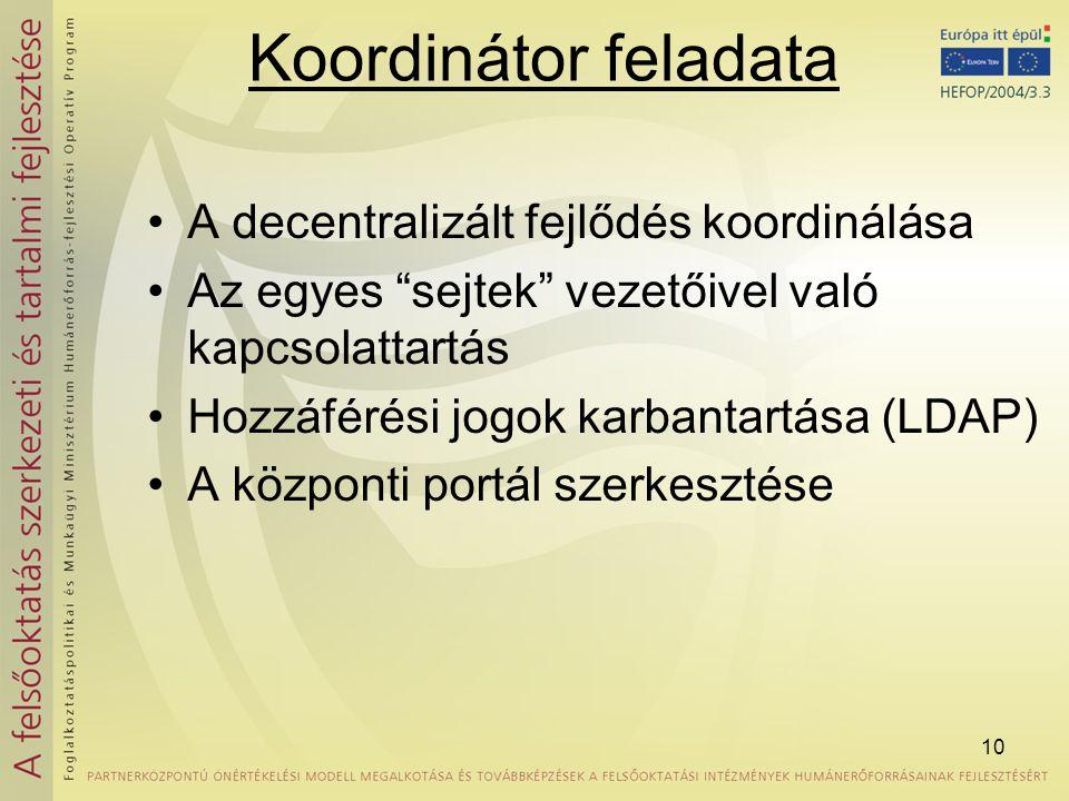 """10 Koordinátor feladata •A decentralizált fejlődés koordinálása •Az egyes """"sejtek"""" vezetőivel való kapcsolattartás •Hozzáférési jogok karbantartása (L"""